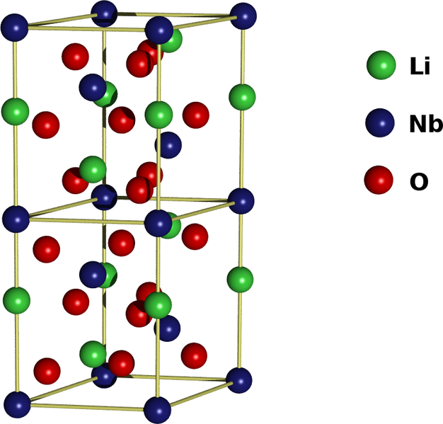 Celda hexagonal del niobato de litio. Sus cristales individuales son un material importante para guías de ondas ópticas, teléfonos móviles, sensores piezoeléctricos, moduladores ópticos y varias otras aplicaciones ópticas lineales y no lineales.