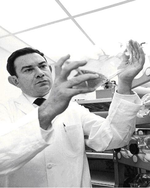 Fotografía del Dr. Leonard Hayflick en el laboratorio, se hizo célebre al descubrir el limite de Hayflick y su relación con la senescencia celular. También descubrió la línea celular WI-38