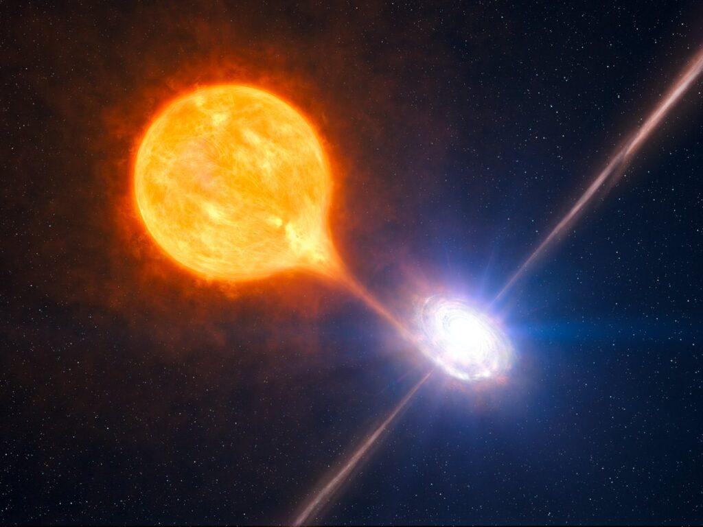 Representación de un agujero negro estelar absorbiendo el material de su estrella compañera