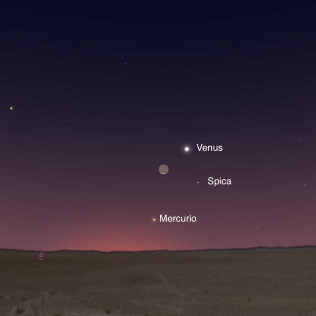 Calendario astronómico. Conjunción de la Luna con Venus y la estrella Spica