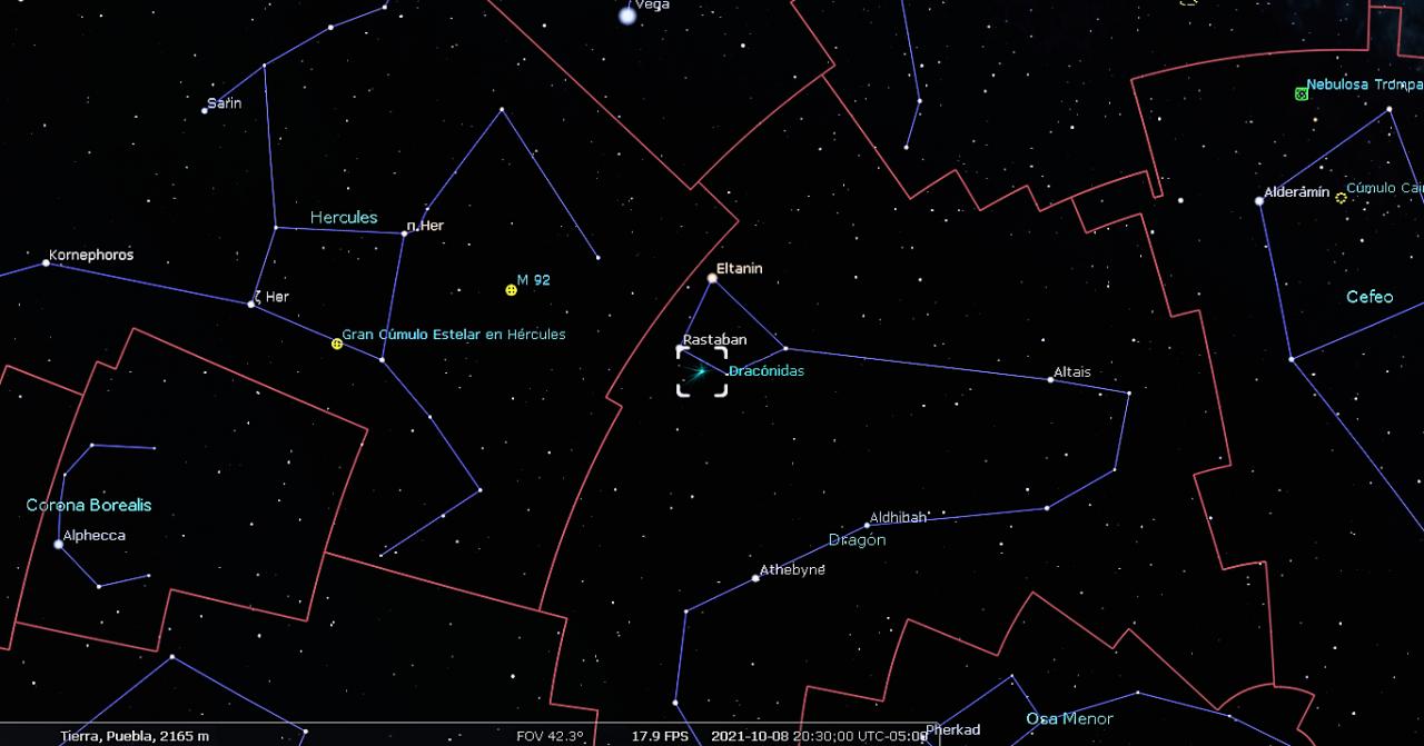Eventos astronómicos octubre 2021. Lluvia de meteoros Dracónidas.